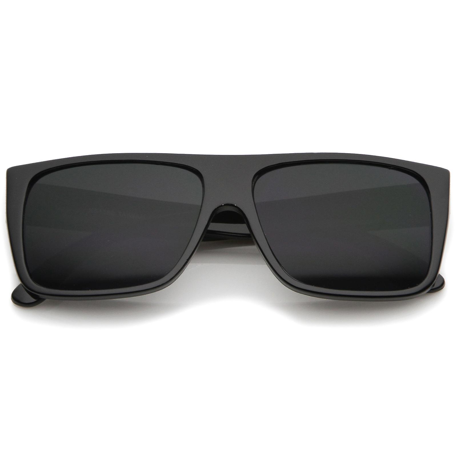 Retrô grande Flat Top templo Eazy E estilo retângulo óculos de sol 57mm d6359cfc02