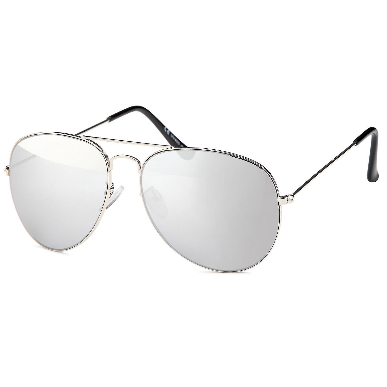 Bling metall solbriller pilot sølv speilet