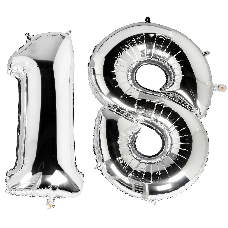 Trixes Metallic Zilver 40 Inch Nummer 18 Mijlpaal Verjaardag Folie