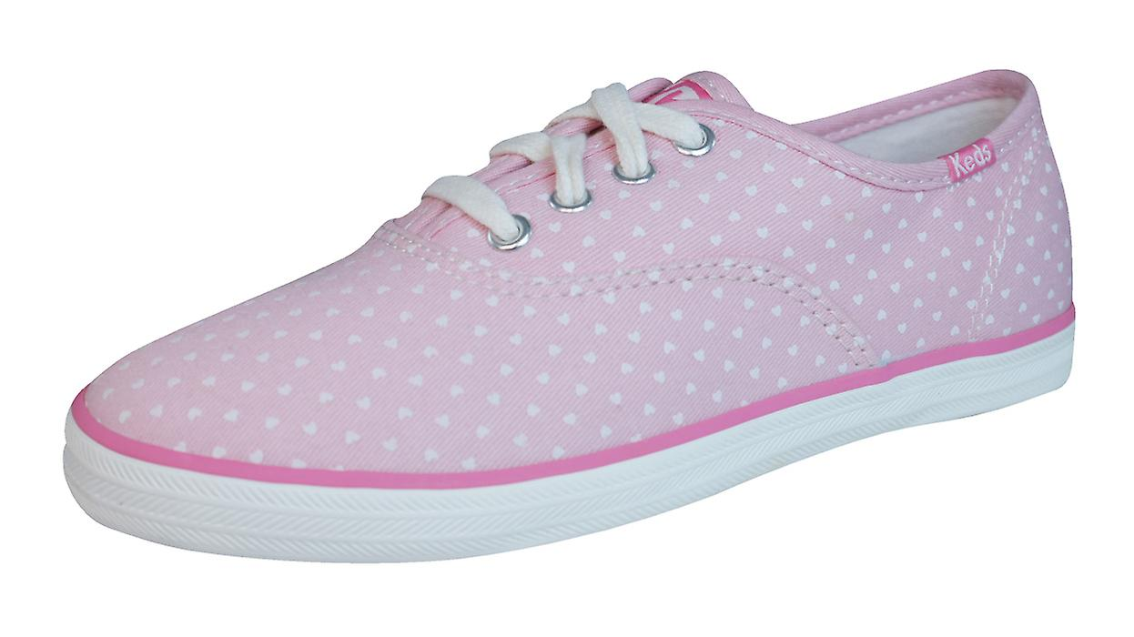 cce15560581612 Keds Champion CVO Girls Lace Up Trainers   Shoes - Pink Hearts