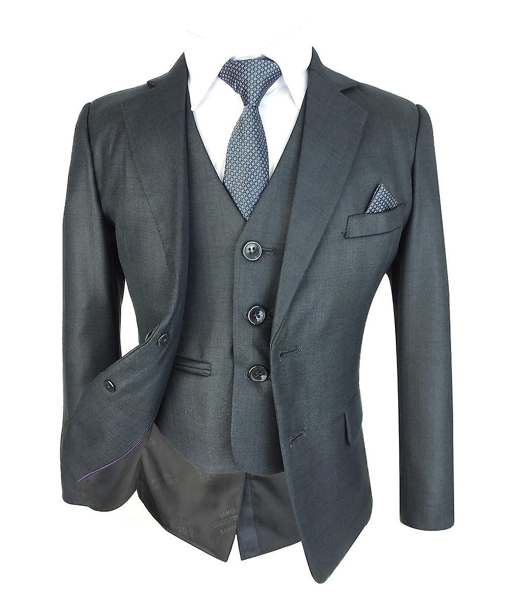 save off 26501 6181b Jungen Slim fit dunkel grau Anzug Komplettset