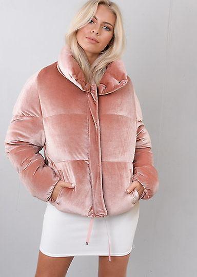 Velvet beskjæres Puffer jakke pels rosa