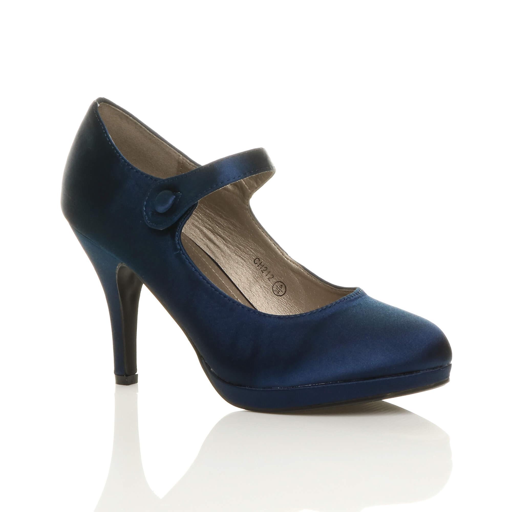 5850a54bc91 Ajvani womens mid high heel mary jane evening work platform court shoes