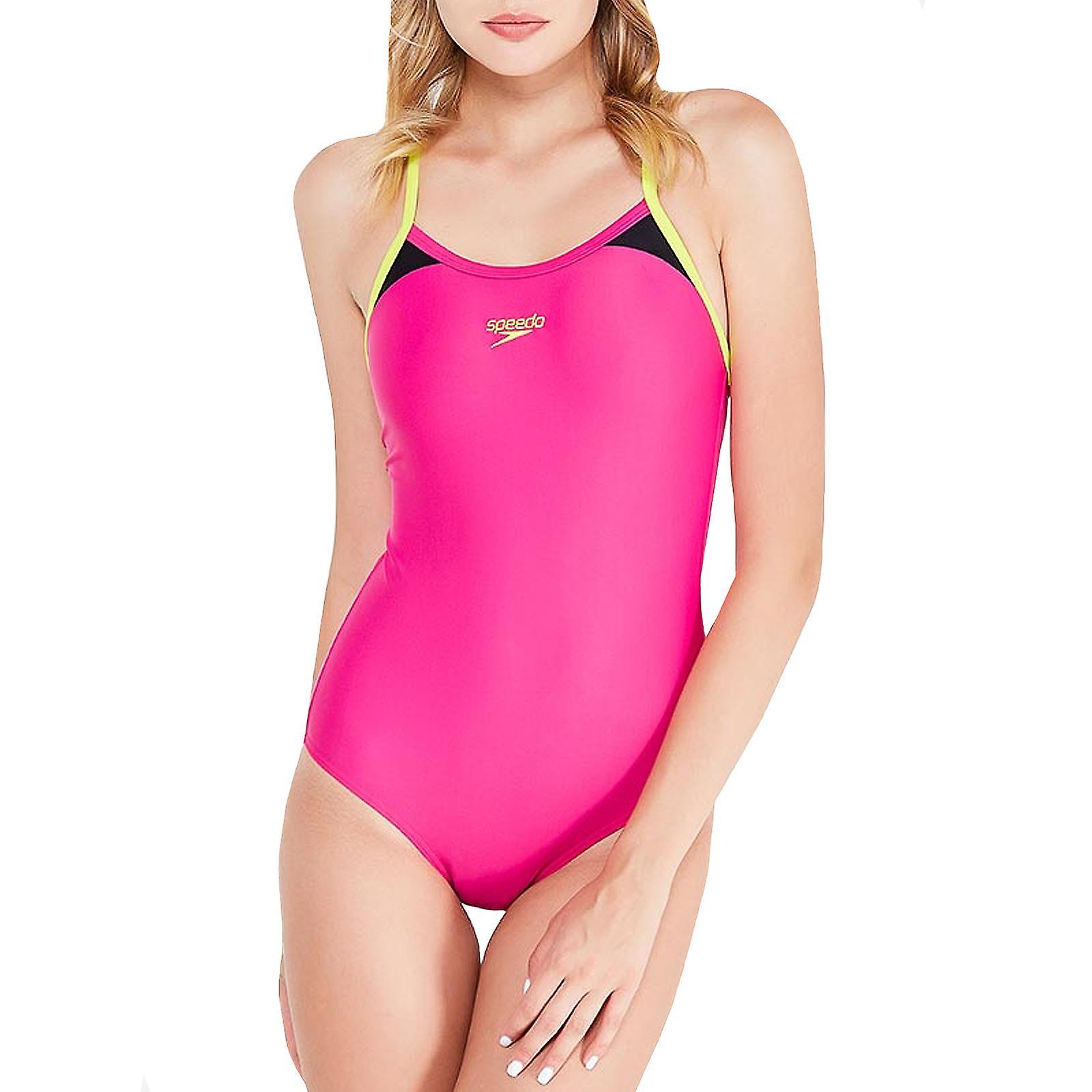 Speedo Womens Splice Thinstrap Racerback Swimsuit Swim Sports