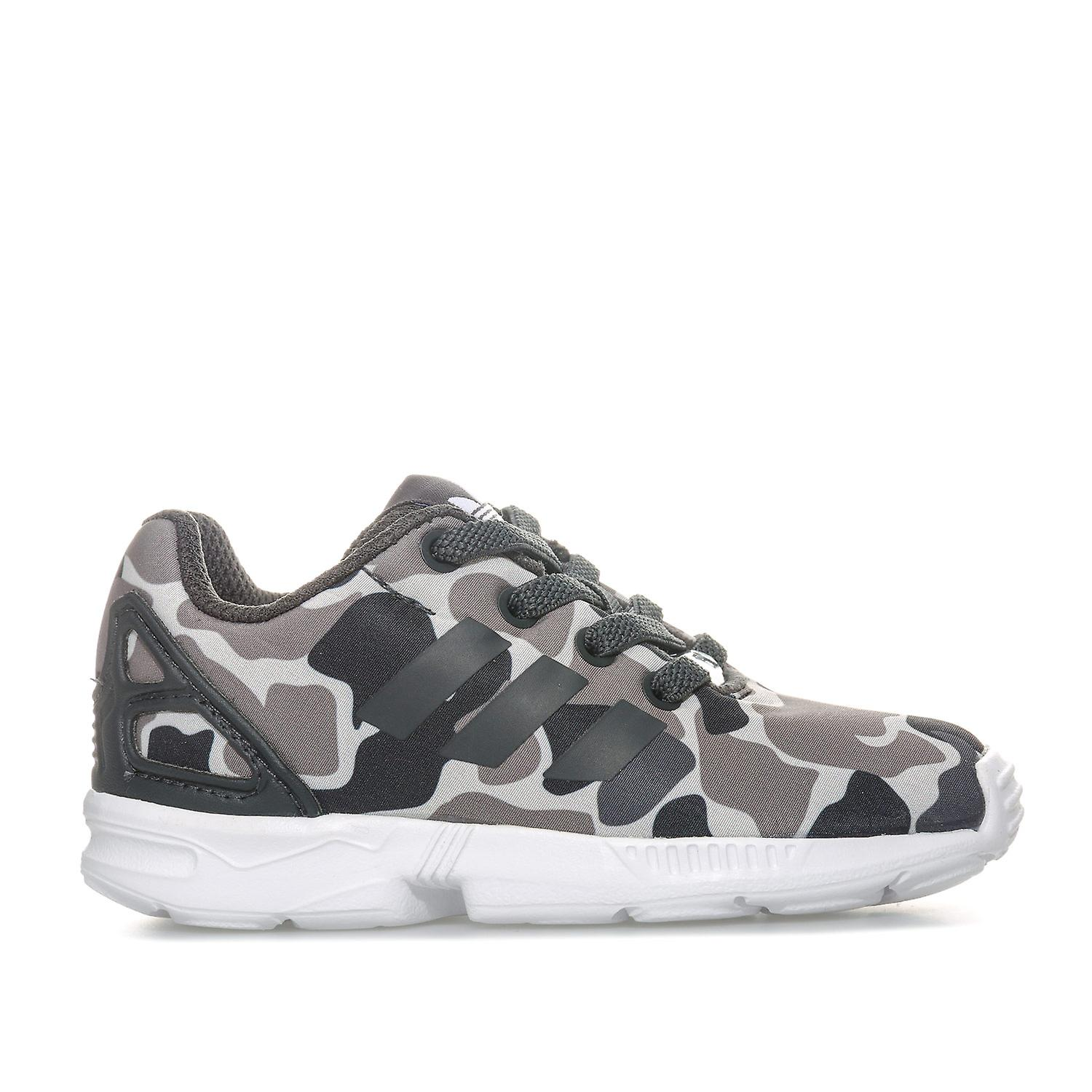 sports shoes a93e1 54838 Infant Boys adidas Originals Zx Flux Camo Trainers In Black Grey-  Elasticated