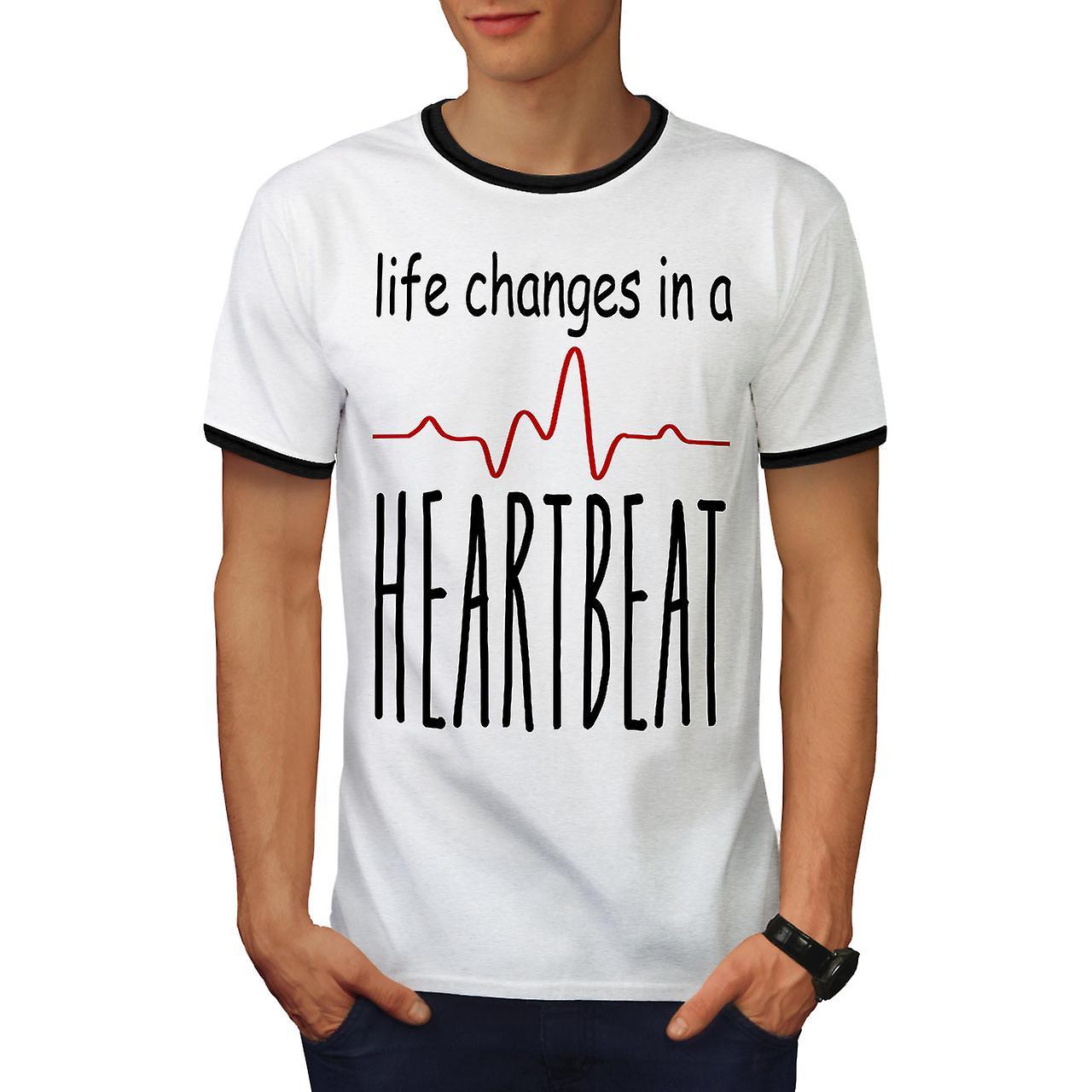 Leben Verandert Schnell Manner Weiss Blackringer T Shirt Wellcoda