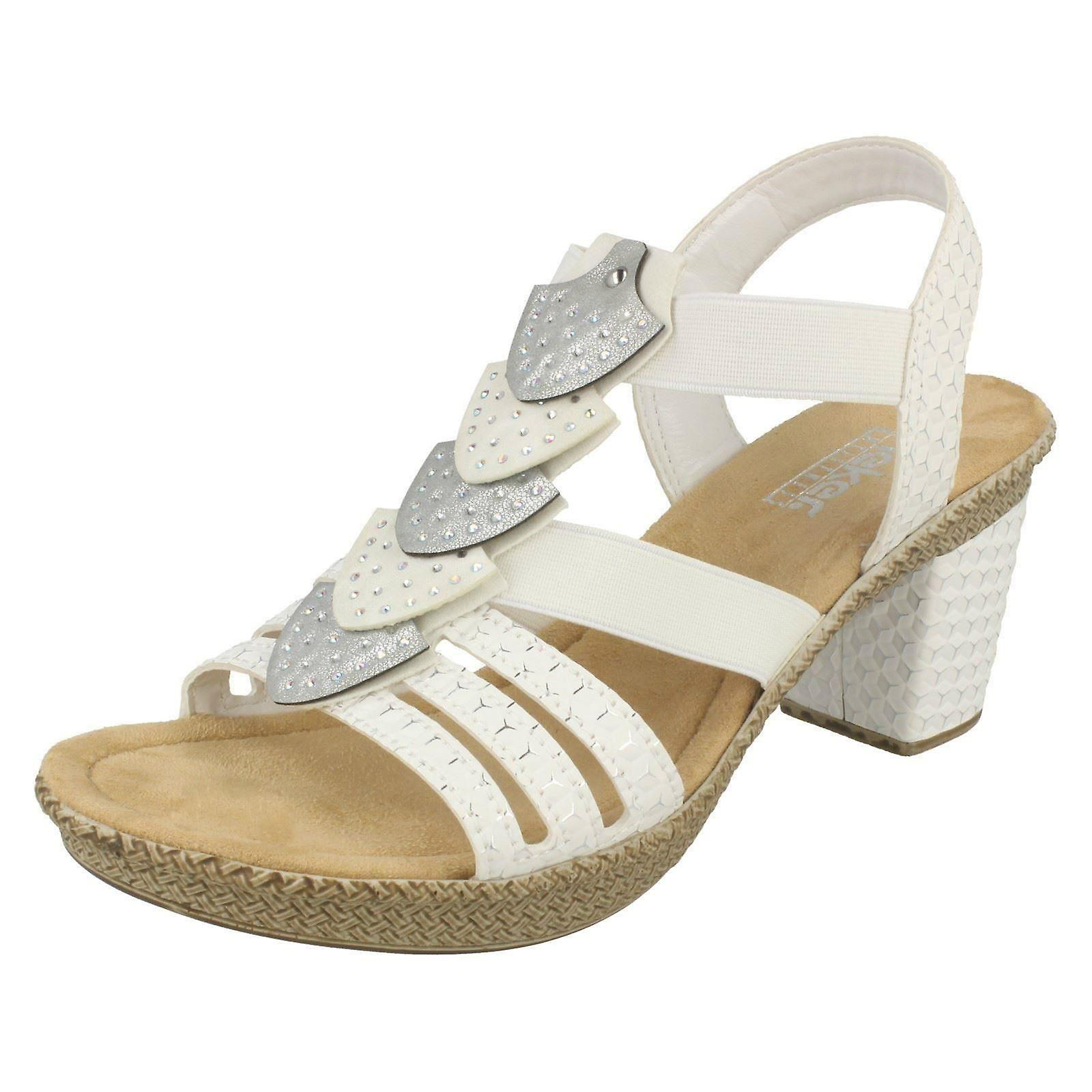 Ladies Rieker Slingback Sandals 66514 80 White Synthetic UK Size 6 EU Size 39 US Size 8