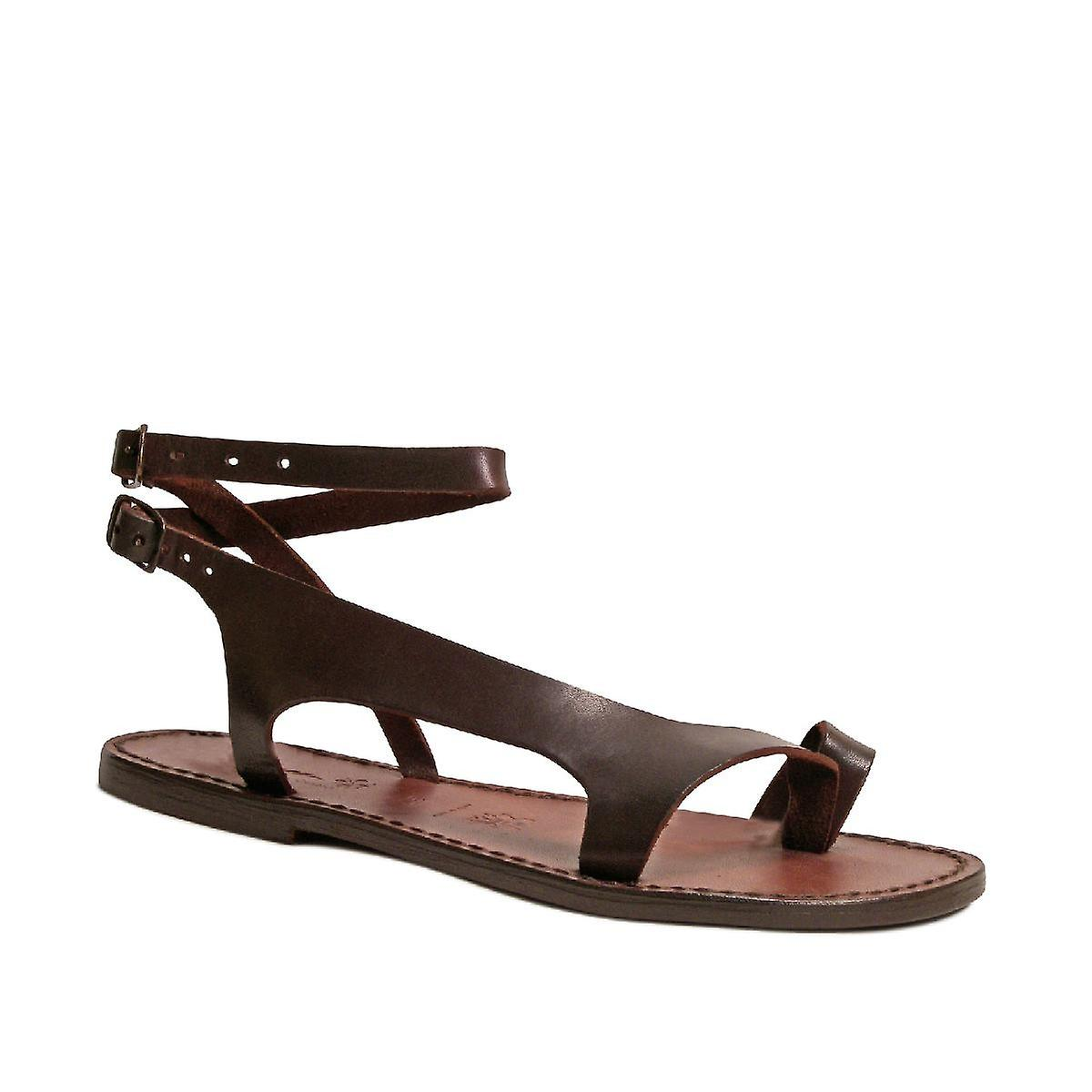 d0a2fdc1719 Brown leather thong sandals for women Handmade in Italy
