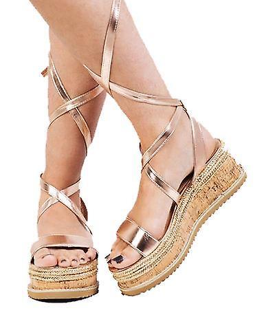 Snøre flettet Cork kile flade Espadrille sandaler Rose guld