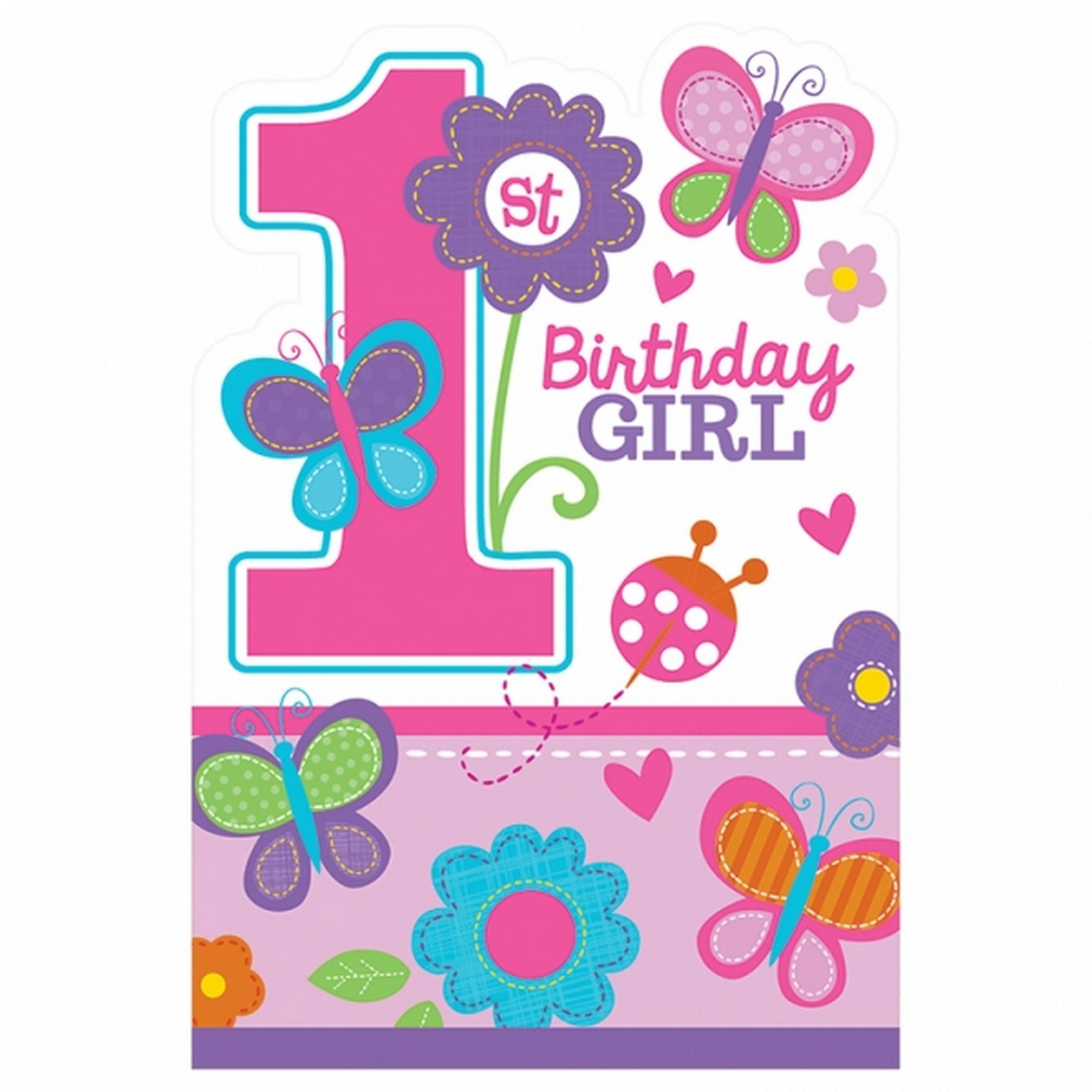 Amscan 1st Birthday Girl Die Cut Postcard Party Invites