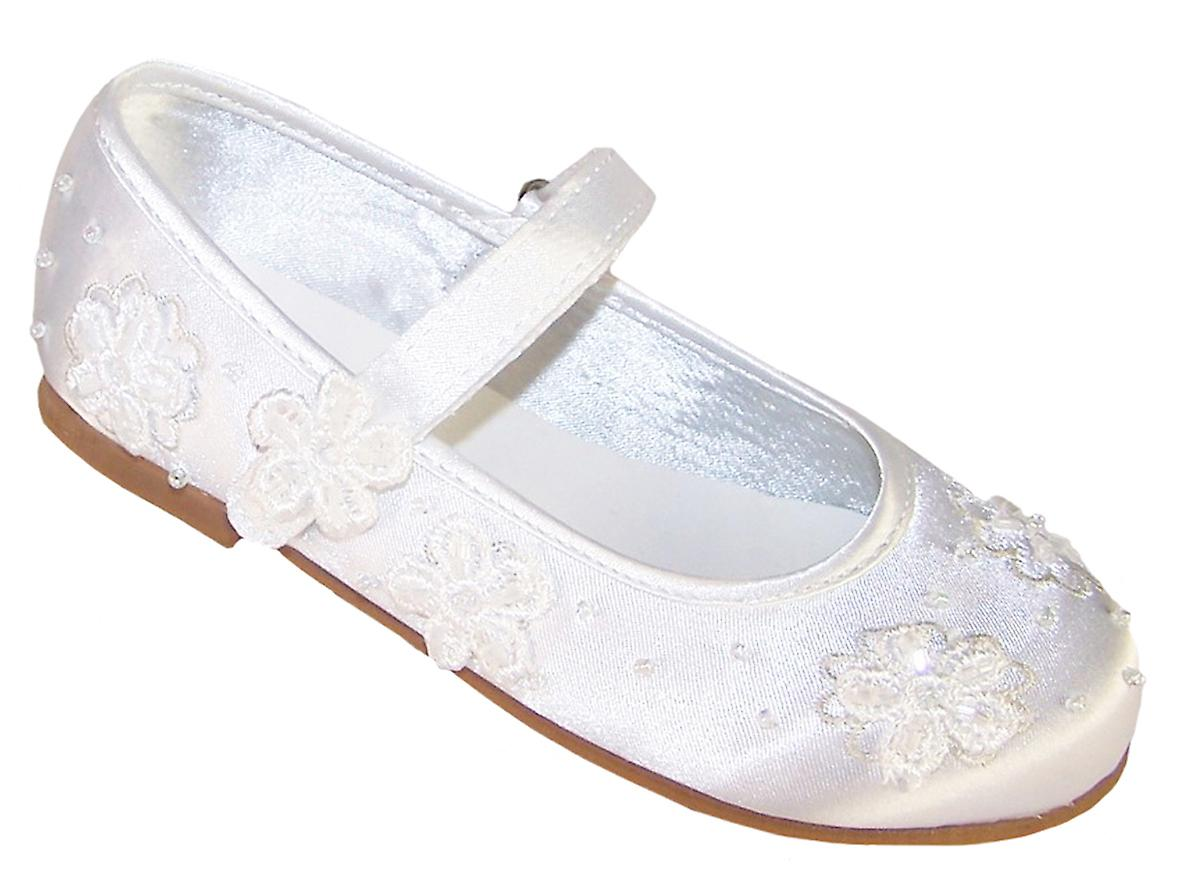 Girls White Satin Flower Girl And Occasion Ballerina Shoes Fruugo