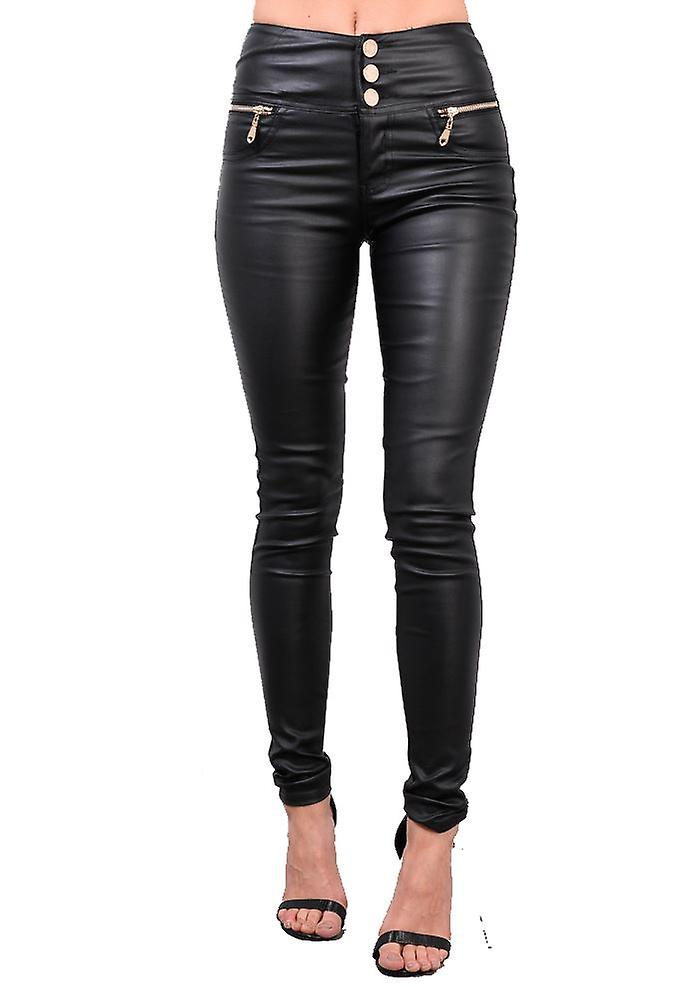 online top-rated newest best sale High Waisted Triple Button Jeans Leather Look Trousers Black