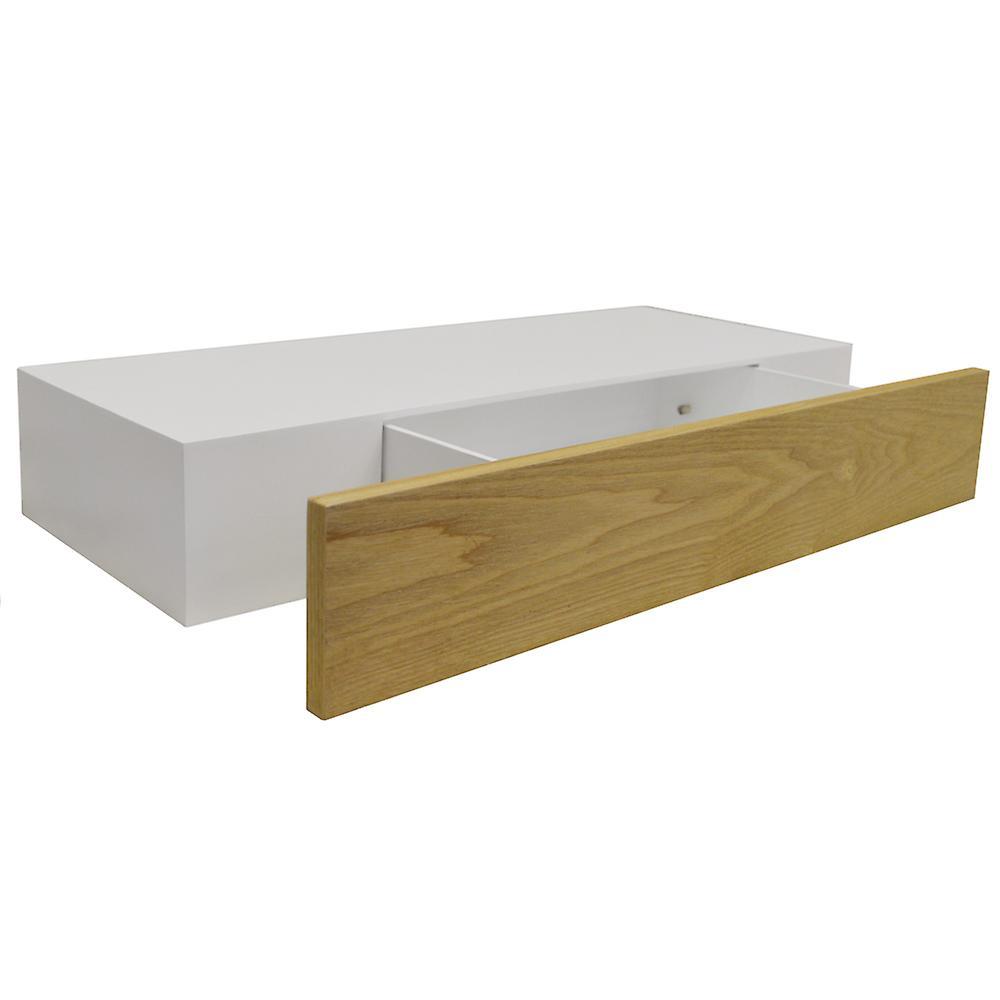 Zwevende Plank Met Lade.Verborgen 2ft 60cm Drijvende Opslag Plank Met Lade Wit Ash