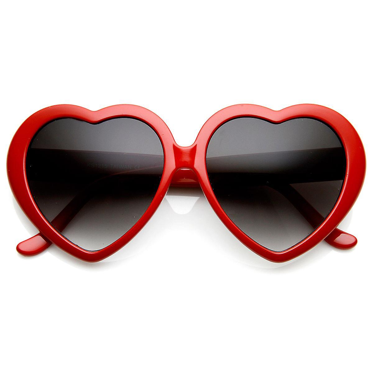 Stora hjärtformade överdimensionerade Womens solglasögon söt kärlek mode  glasögon 48ff247068ba9