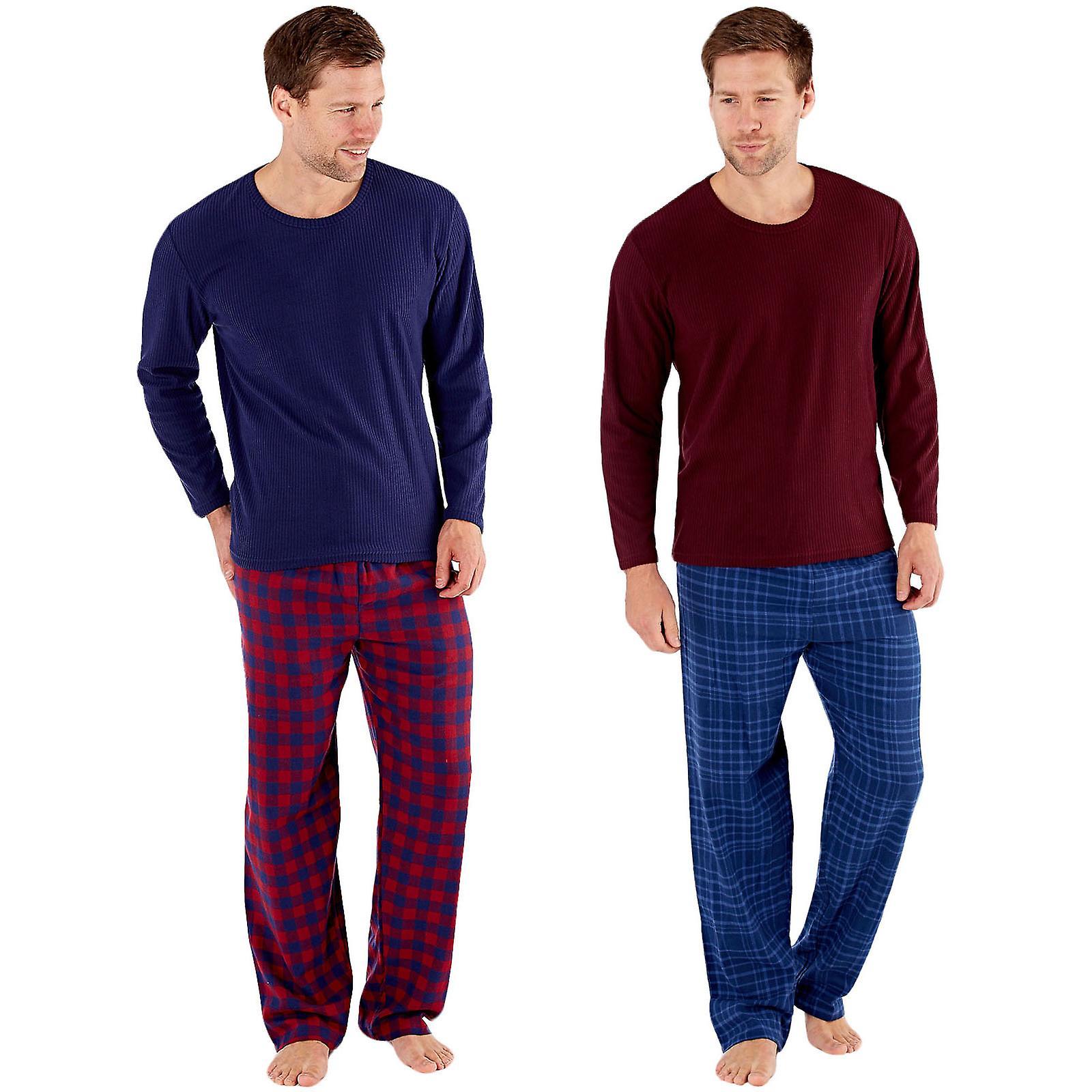 Kauf authentisch großer Rabattverkauf Rabatt bis zu 60% Harvey James Mens Warm Winter Thermal Fleece Check Loungewear Pyjamas PJs  Set