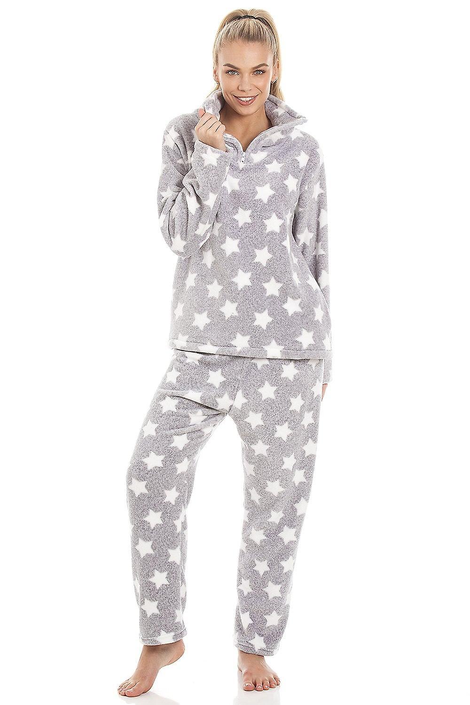 official photos e06c7 636e0 Camille grau Supersoft Velours Fleece-weiße Sterne Print-Pyjama-Set