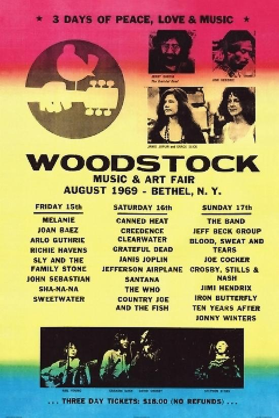 an introduction and background of the woodstock music and art fair Promotional poster for the 1969 woodstock music and arts fair in bethel, new york a white dove sits on a guitar handle above the tagline, '3 days of peace & music.