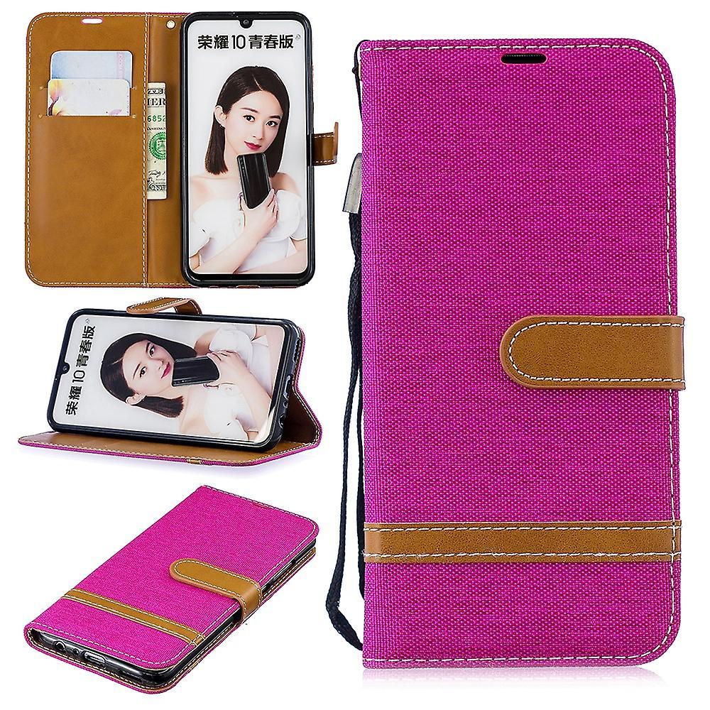Huawei P smart 2019 phone case skyddande väska fallet täcker fack påse plånbok rosa