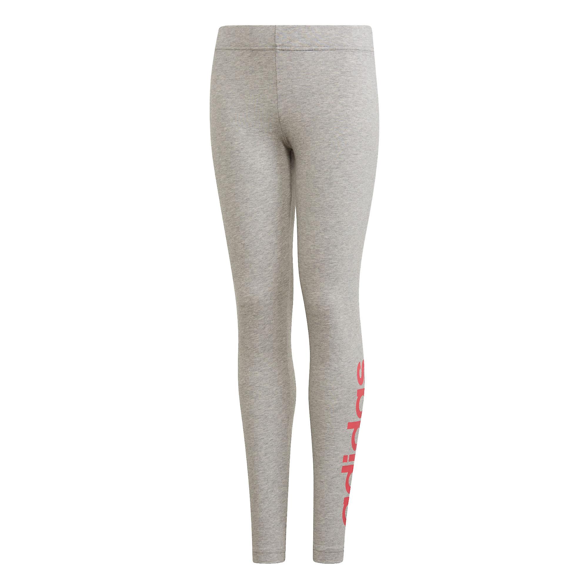 adidas Essentials Linear Girls Kids Sports Legging Tight Pant Grey