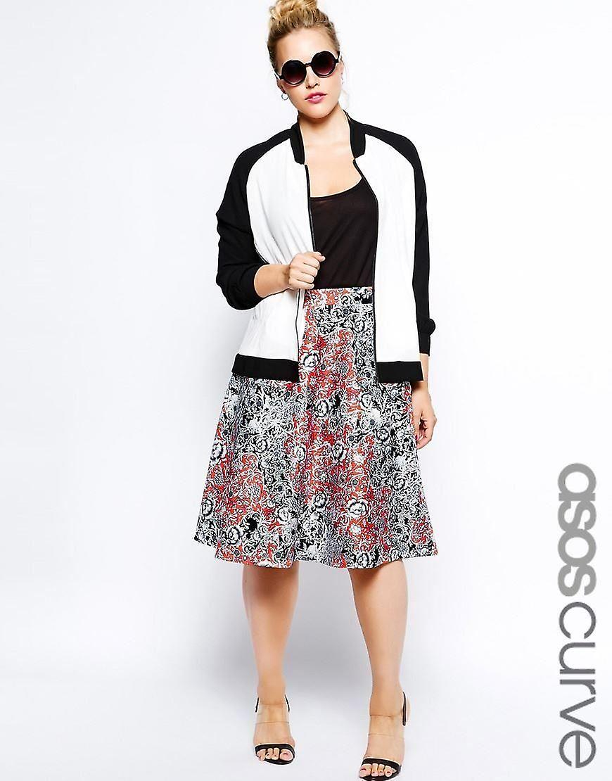 best cheap uk cheap sale official ASOS CURVE Exclusive Midi Skirt In Printed Scuba UK 28