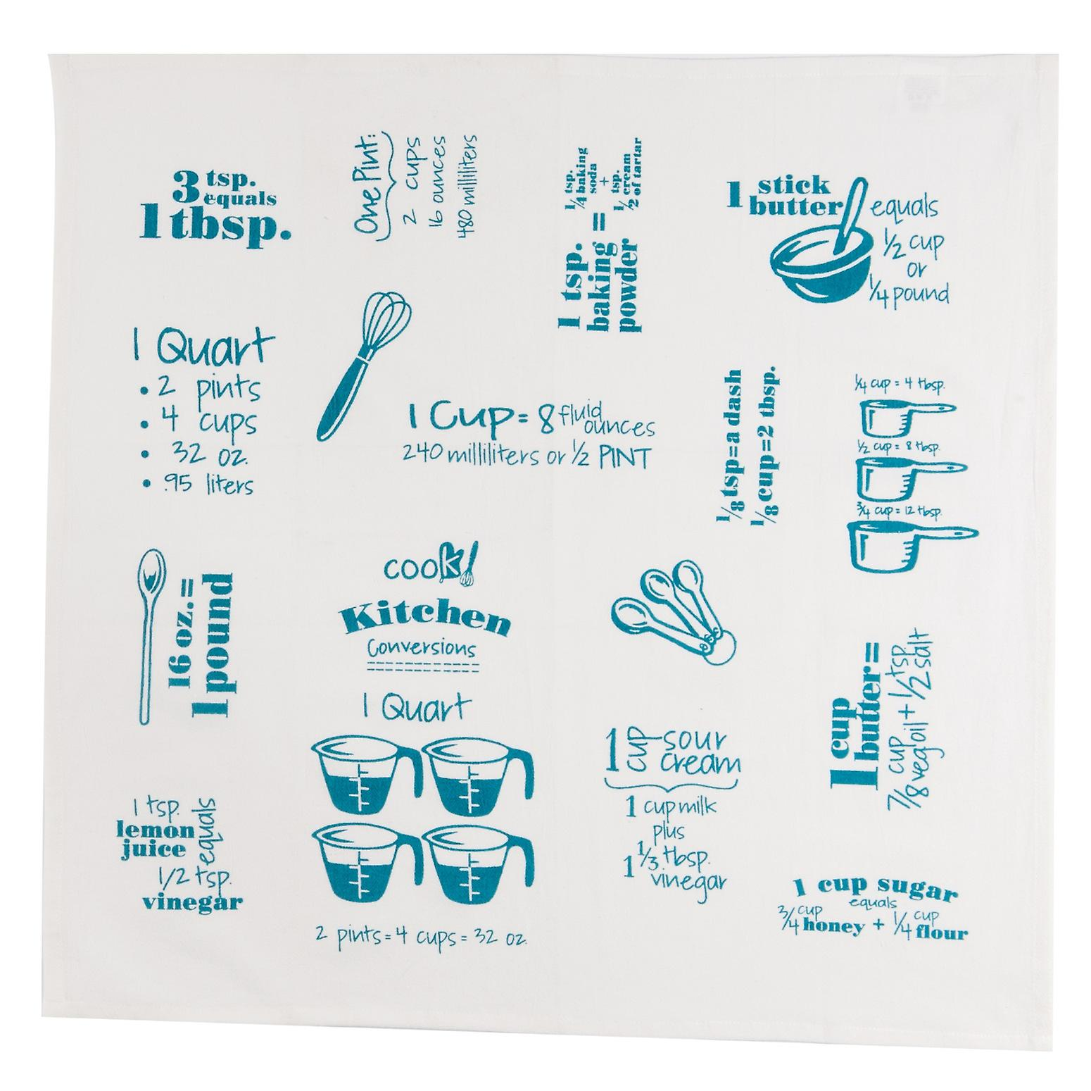 Cooks Conversions Teal Krinkle Flour Sack 26 Inch Kitchen Dish Towel ...
