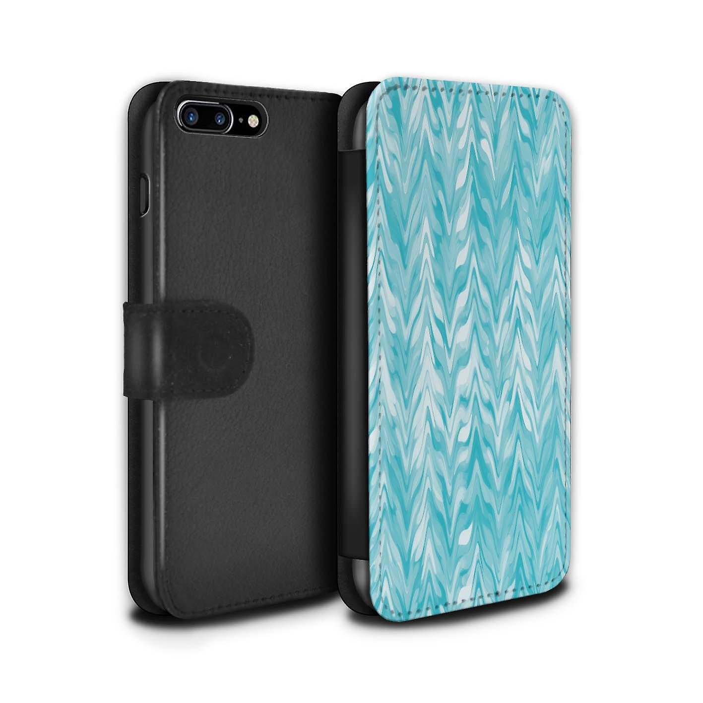 cheap for discount fe69a 3dd29 STUFF4 PU Leather Wallet Flip Case/Cover for Apple iPhone 7 Plus / Blur  Serrations Design / Teal Fashion Collection