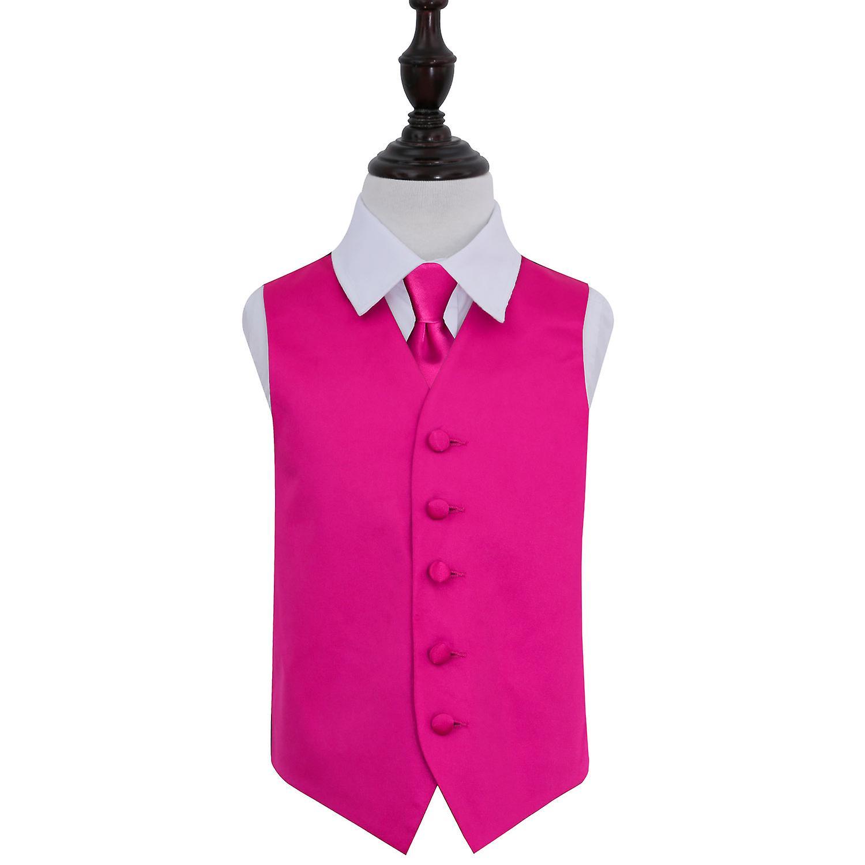 Llano de color de rosa caliente Set novia chaleco y la corbata para ...