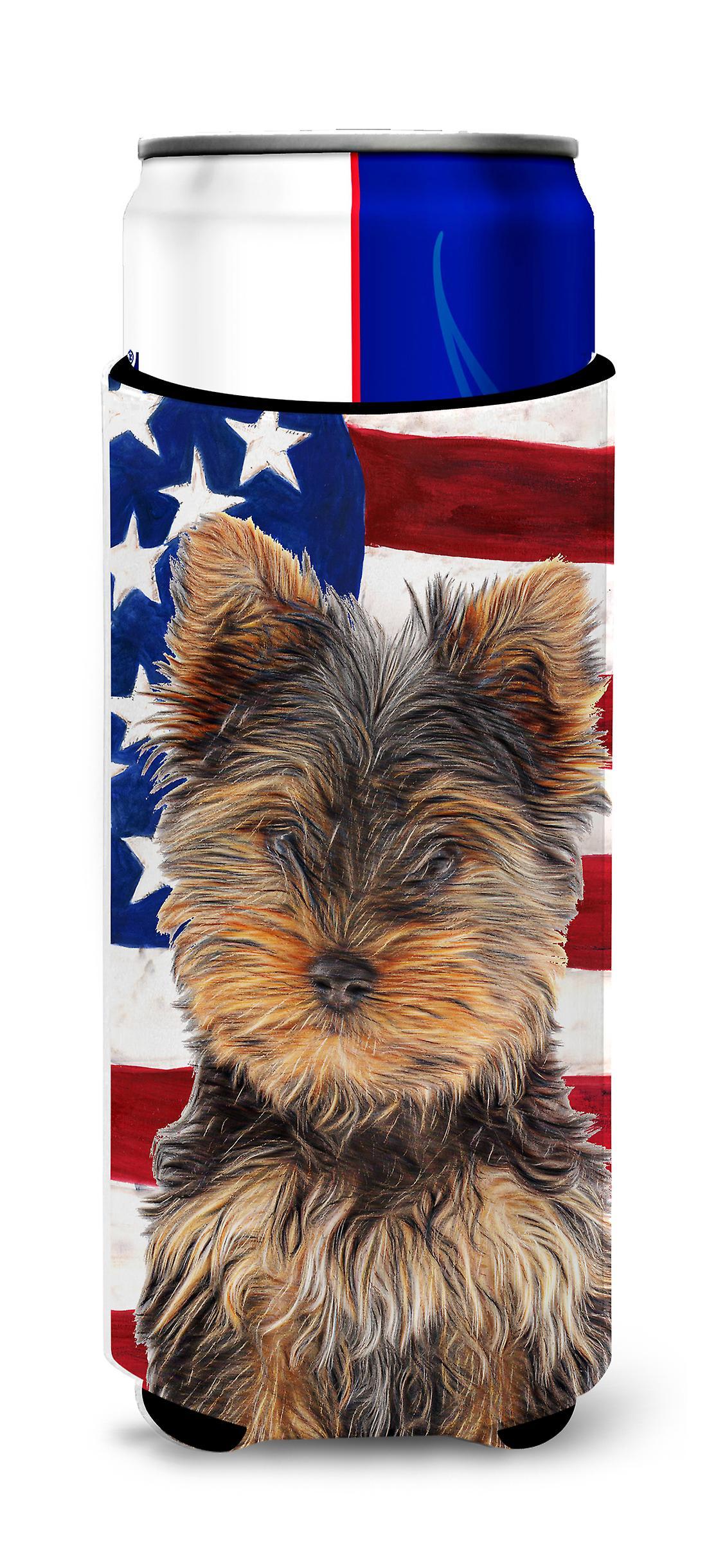 USA amerikanische Flagge mit Yorkie Welpen / Yorkshire Terrier Ultra ...