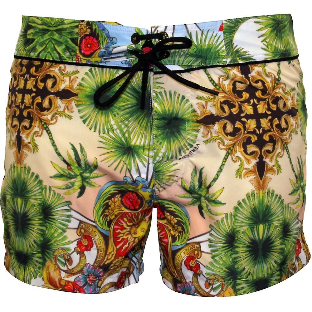 1b45e779bd Versace Miami Print Luxe Swim Shorts, Multicolour | Fruugo