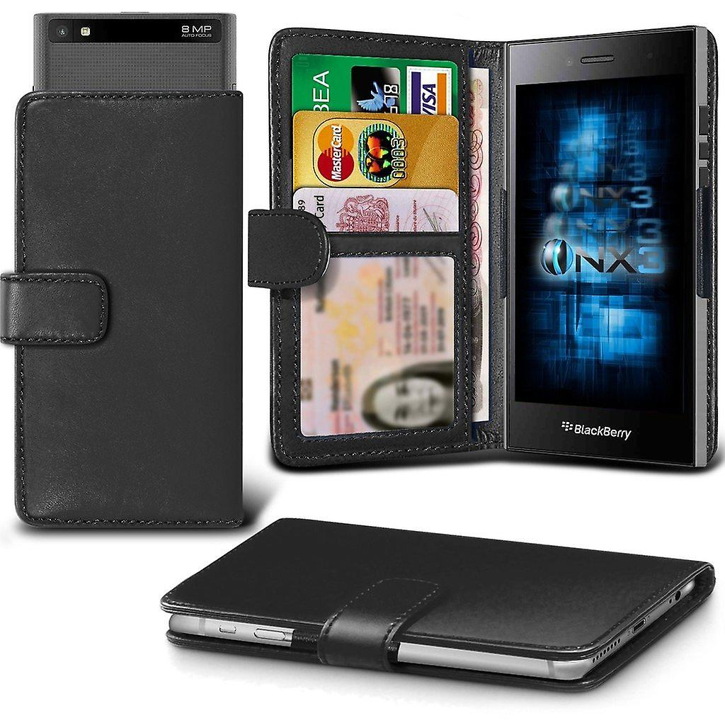 Onx3 Blackberry Classic Q20 Leather Universal Spring Clamp Wallet Black Case With Card Slot Holder And