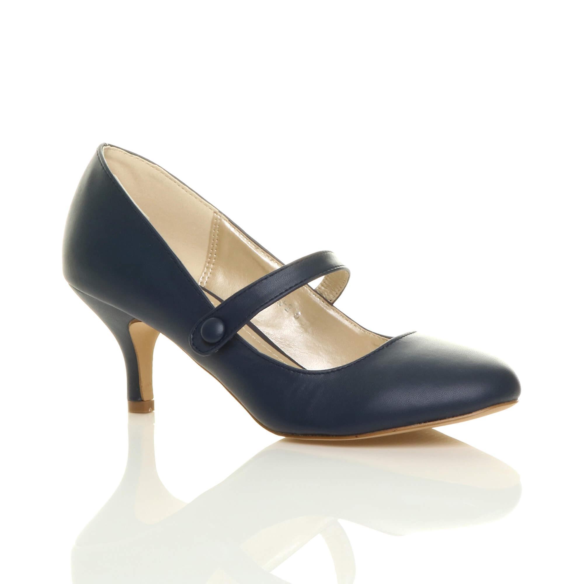 465de544630d2 Ajvani womens low mid heel mary jane strap work party court shoes pumps