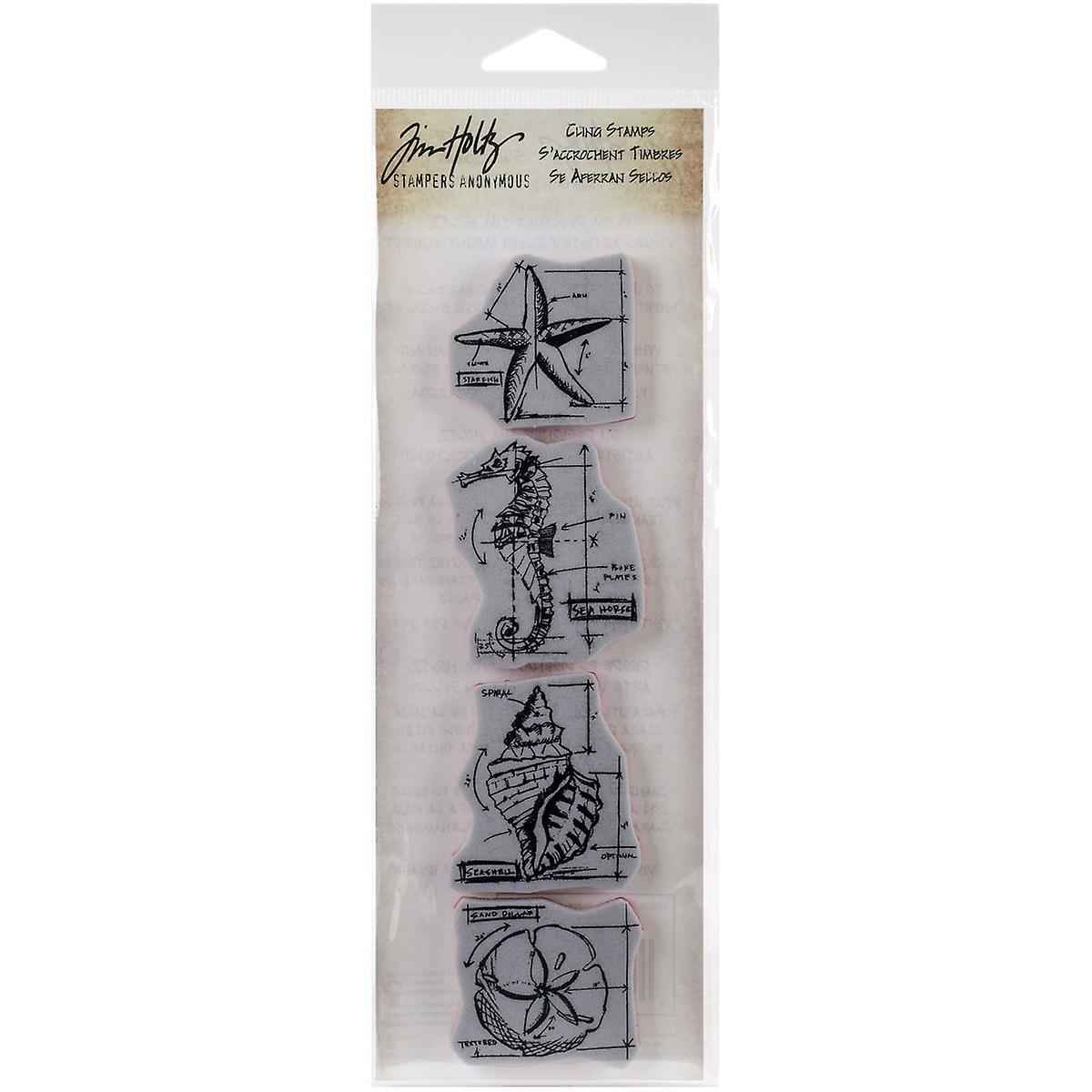 "Tim Holtz Mini Blueprints Strip Cling Stamps 3/""x10/""-autumn"
