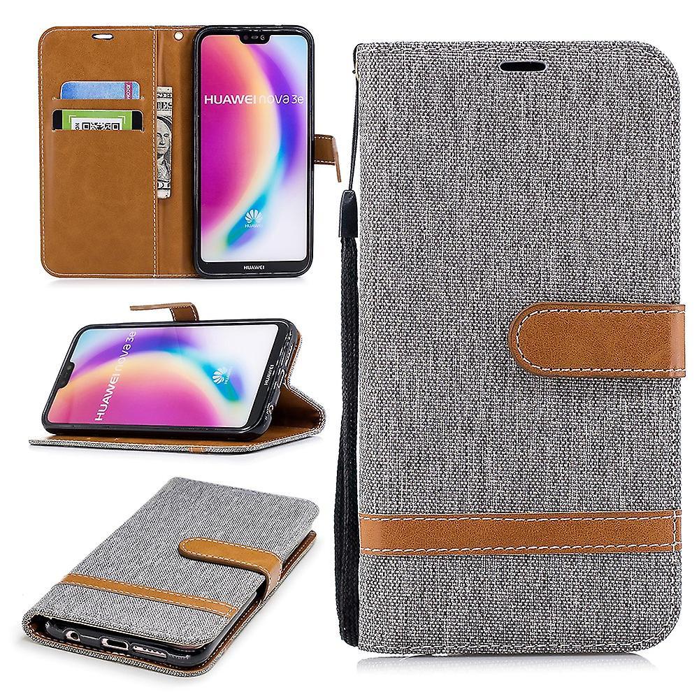 Huawei P20 Lite mobiltelefon skal skydd väska fallet täcker fack påse plånbok grå