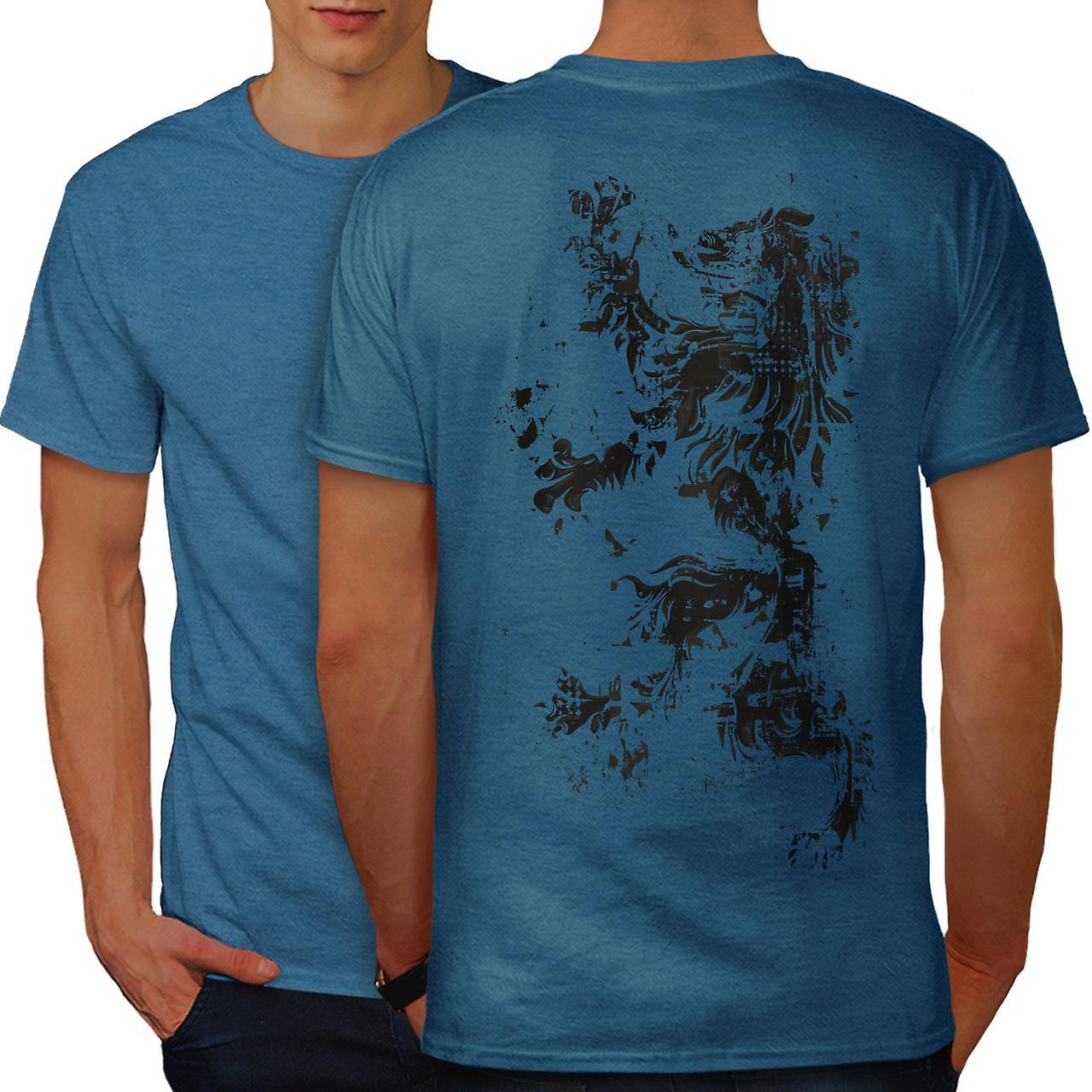 f7a854b46d07b Lion Rampant Flag Men Royal BlueT-shirt Back | Wellcoda | Fruugo