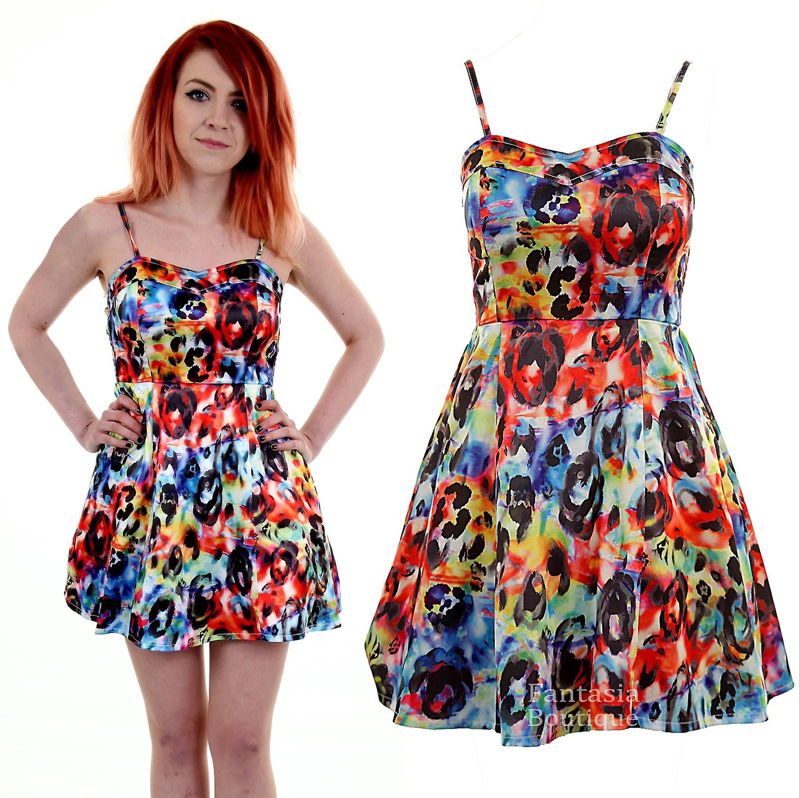 55332ec33e Ladies Bustier Skater Flare Thin Strap Multi Colour Floral Print Women s  Dress
