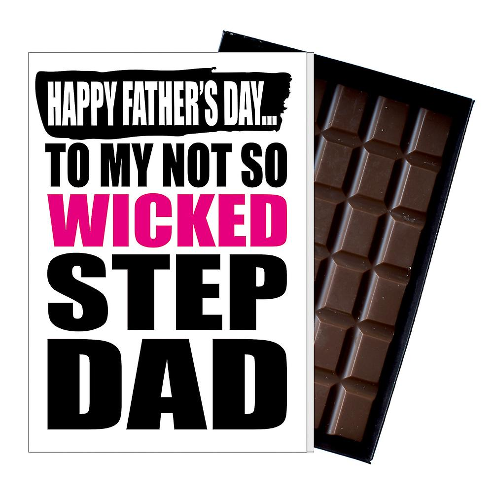 Funny Step Dad Fathers Day Gift Silly Chocolate Present Rude Card Dadiyf104
