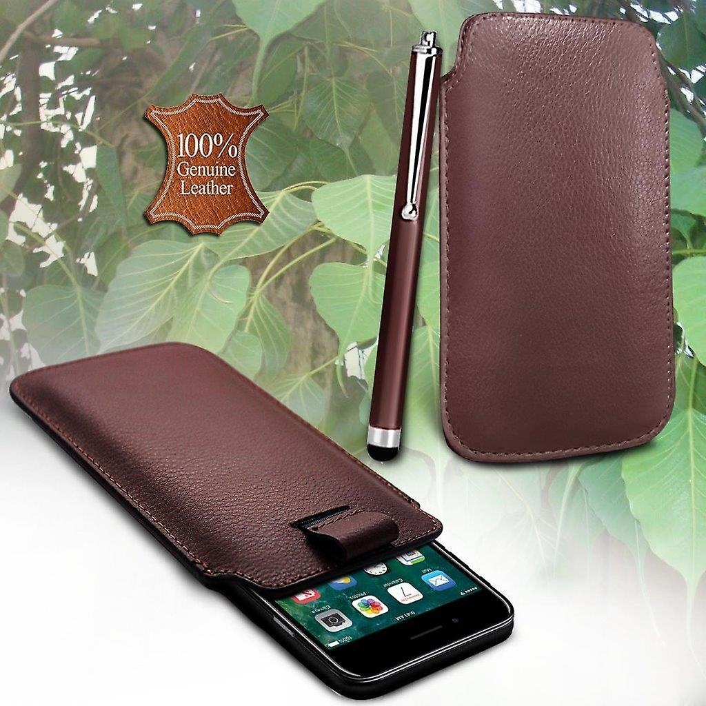 reputable site 81f62 821a8 i-Tronixs Sony Xperia X5 Compact Genuine Leather High Quality Pull Tab Flip  Phone Case Cover With Stylus Pen Brown