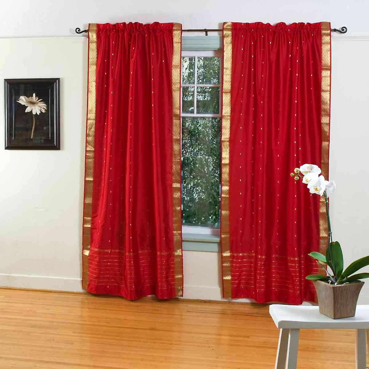 Fire Brick Rod Pocket Sheer Sari Curtain D Panel Pair Fruugo