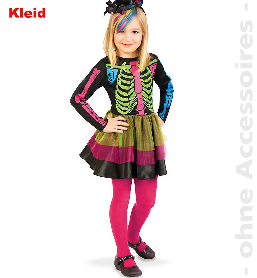 Skelett kostym skelett klänning färgade barn kostym dag av det döda barnet  Halloweenkostym d3ed2f2e031c5