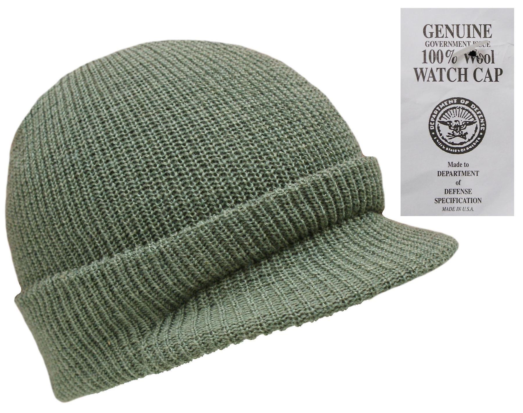 New Peaked 100% Wool Hat Us Army Watch Cap Beanie  23711fa83f3