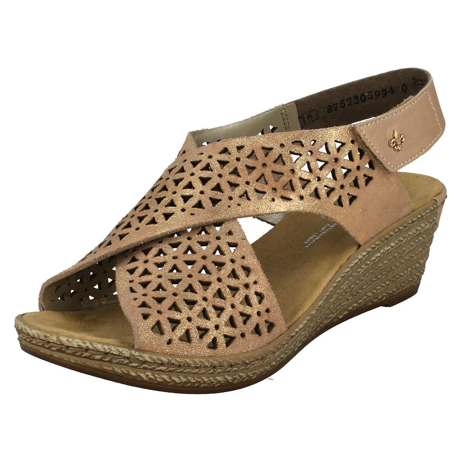 Ladies Rieker Wedged Heel Slingback Sandals 62484 31 Rosa Leather UK Size 4 EU Size 37 US Size 6