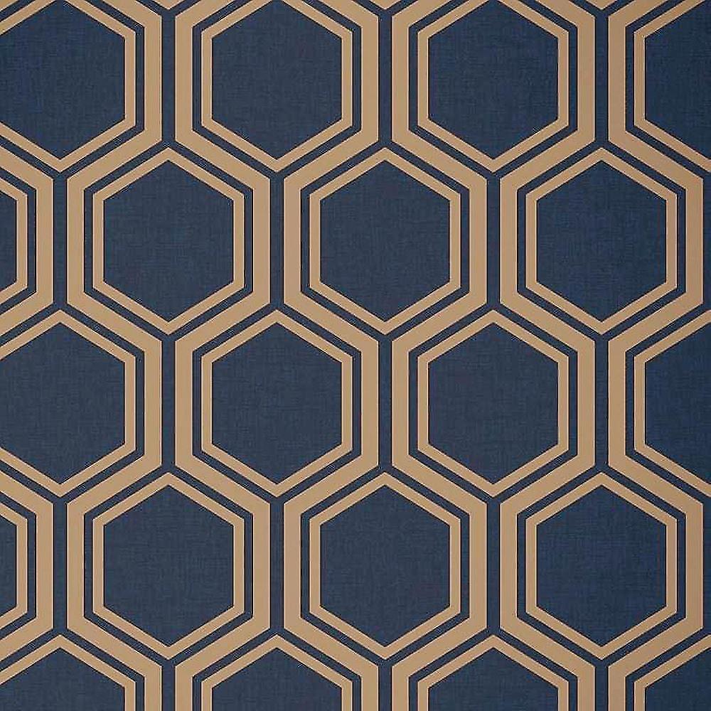 Hexagon Geometric Wallpaper Navy Blue Gold Metallic Textured Arthouse Luxe