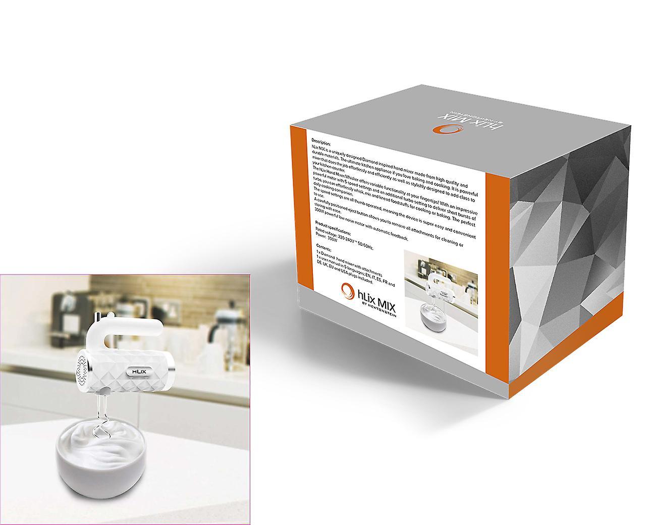 Automatische Mixer Keuken : Hlix mix diamond wit w hand mixer whisker met chrome kloppers