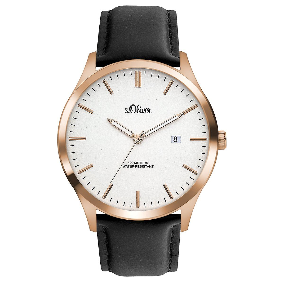 quality products pre order performance sportswear s.Oliver men's watch wristwatch leather SO-3477-LQ