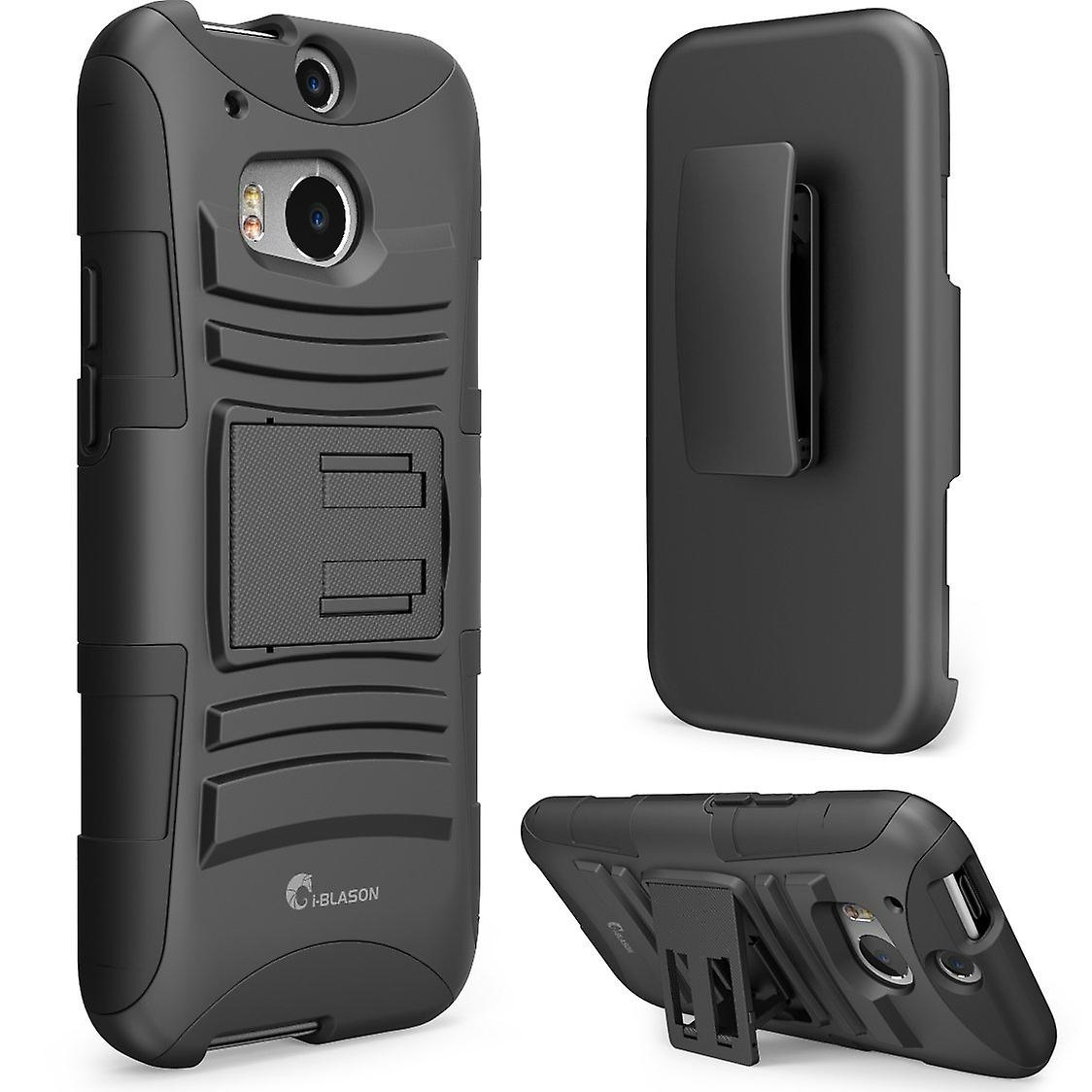 finest selection 41228 d06dc HTC One m8 Case, i-Blason Prime Series Dual Layer Holster Cover with  Kickstand and Locking Belt For HTC One -Black