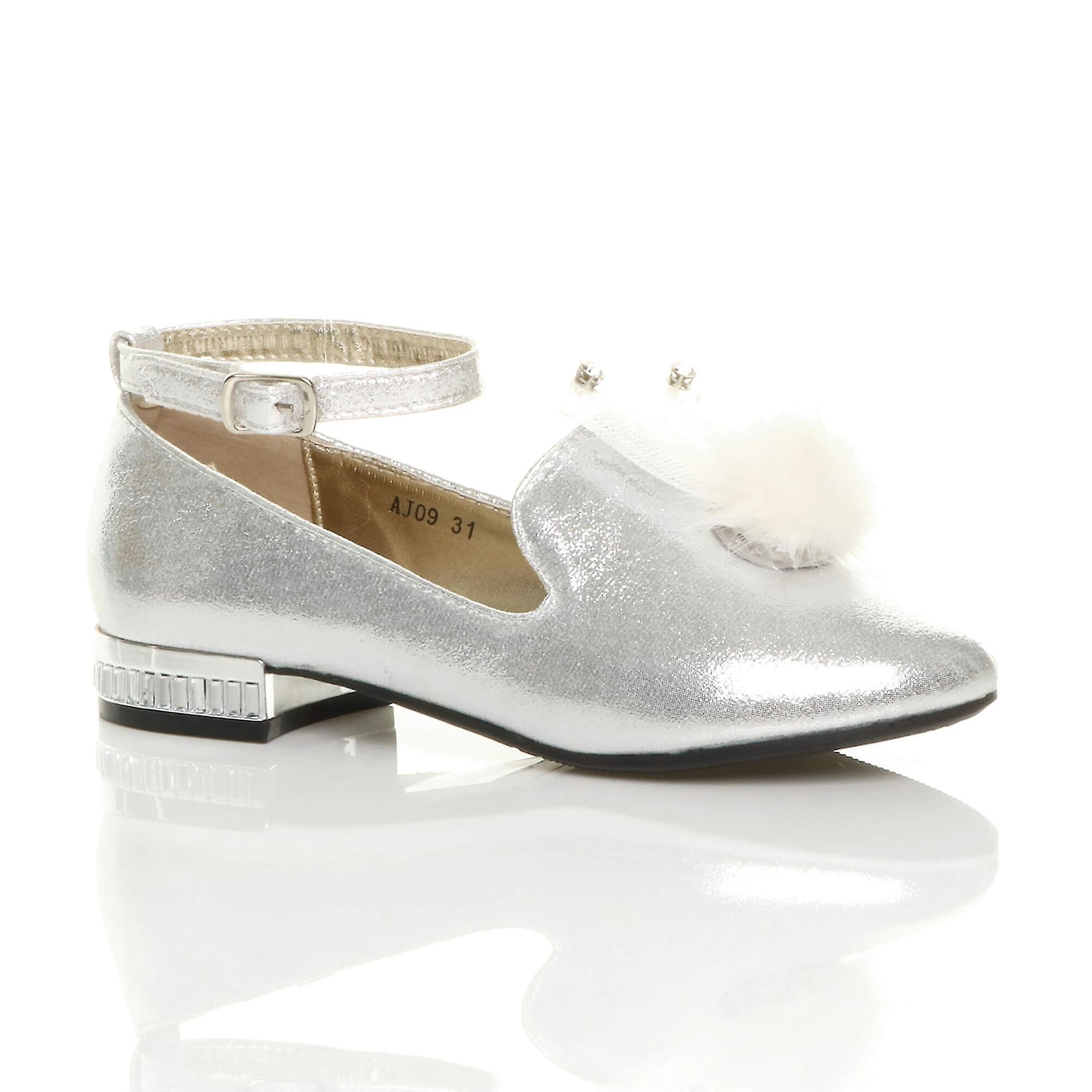 Ajvani jenter ankelen stroppen glitter skimmer pom pom loafers partiet sko ballerinaer