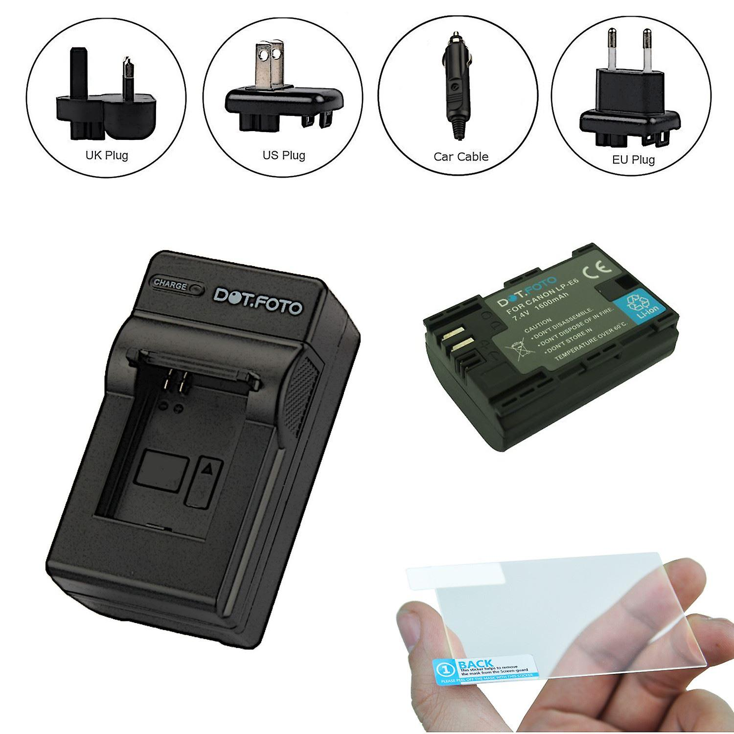 Dotfoto Lp E6 Battery 1600mah Travel Charger Optical Glass Lcd Screen Protector 3 In 1 Kit For Canon Eos 5d Mark Iii E6n Original Foto