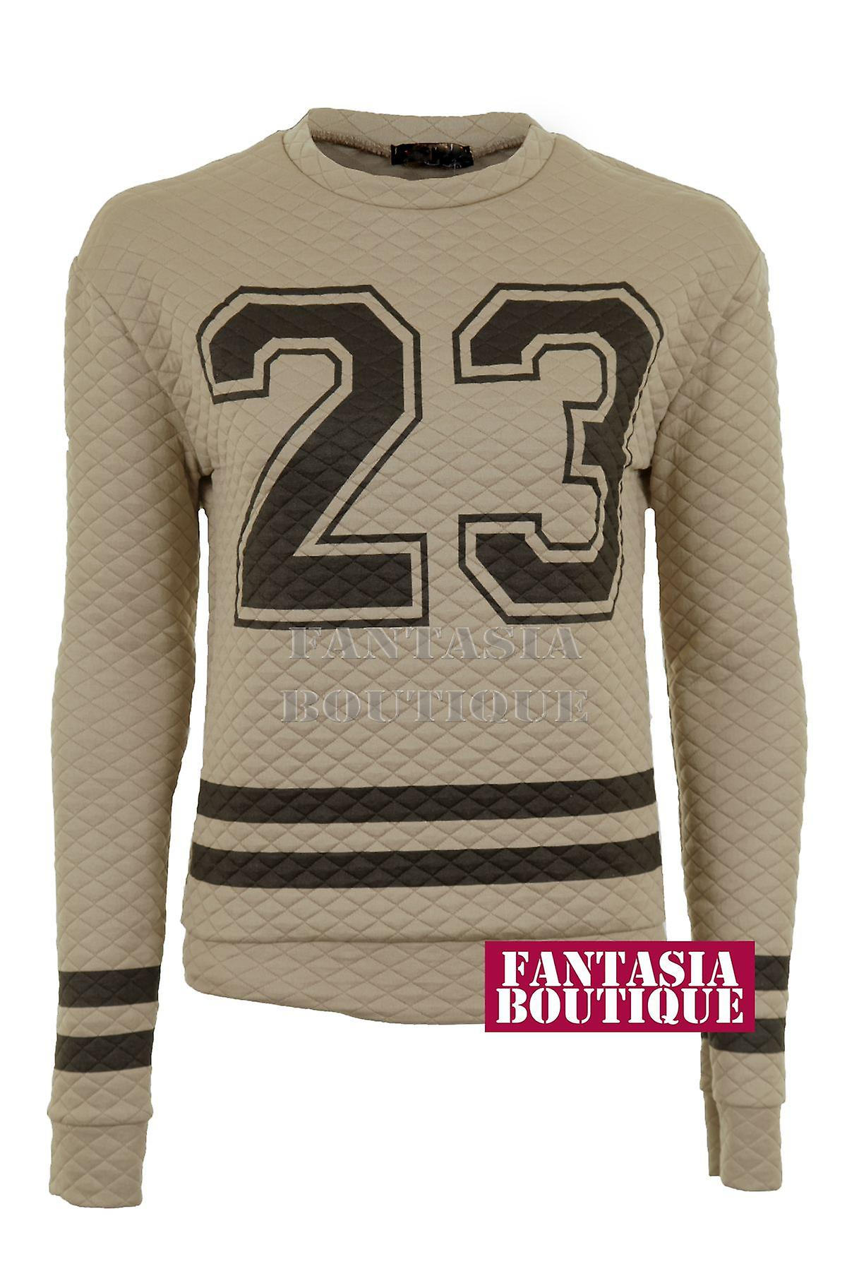 Damen Langarm gesteppte Baseball schwarz 23 Print Warme Damen Pullover