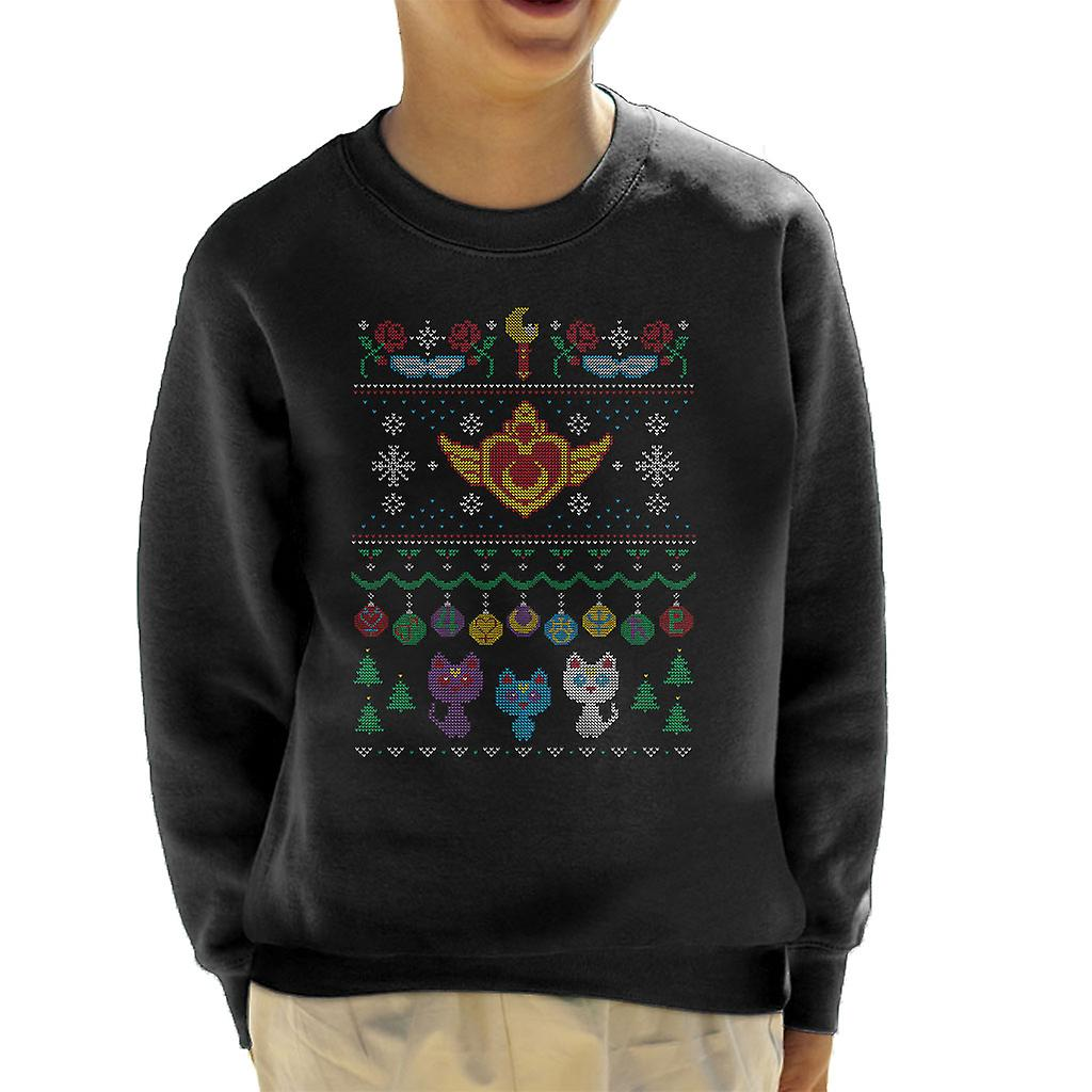 Sailor Moon Christmas Sweater.Sailor Moon Senshi Christmas Knit Pattern Kid S Sweatshirt