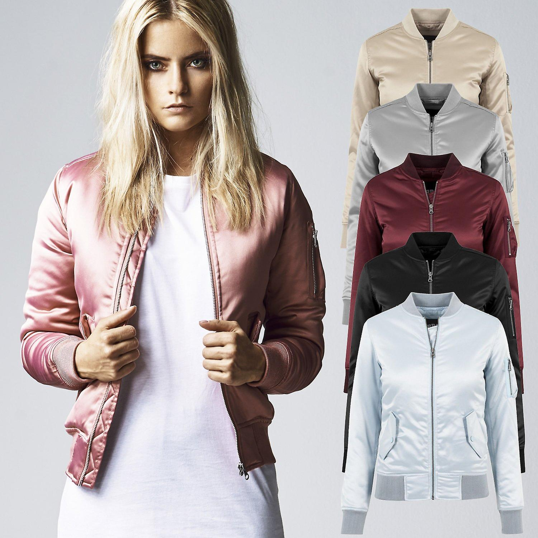 688728d9 Urban classics ladies - SATIN BOMBER pilot Aviator jacket | Fruugo